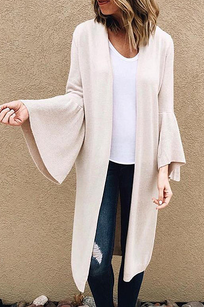 Fashion Bag Trumpet Sleeve Solid Color Cardigan