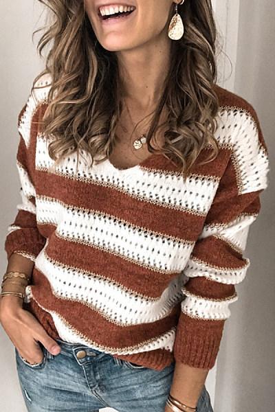 V Neck Striped Long Sleeve Sweater