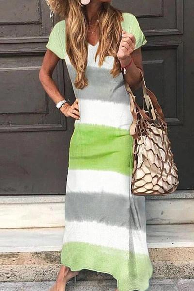 2020 Summer Stripe Maxi Dress