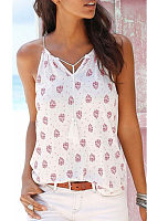V Neck  Drawstring  Printed Camis