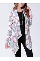 Lapel  Asymmetric Hem  Geometric Striped Cardigan