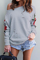 Open Shoulder  Cutout Loose Fitting  Floral Sweatshirts