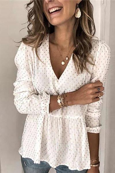 Fashion Polka Dot Print Long Sleeve V-Neck Shirt