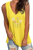 V Neck Print Sleeveless T-shirt