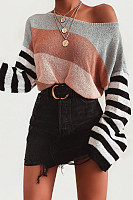 Boho Long Sleeve Color Block Stripe Sweater