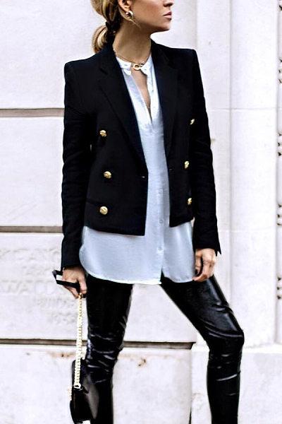 Fashion Black Decorative Buttons Blazer