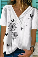 Fashion V-Neck Irregular Loose Print T-Shirts