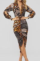 Deep V Neck  Leopard Printed  Long Sleeve Bodycon Dresses