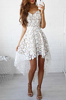 Lace Spaghetti Strap Curved Hem Sleeveless Skater Dress