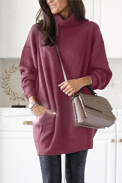 High Collar Plain Knit Sweater