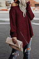 One Shoulder  Asymmetric Hem  Plain Sweaters