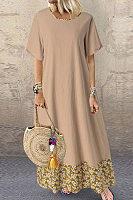 Cotton and linen round neck stitching vintage print dress