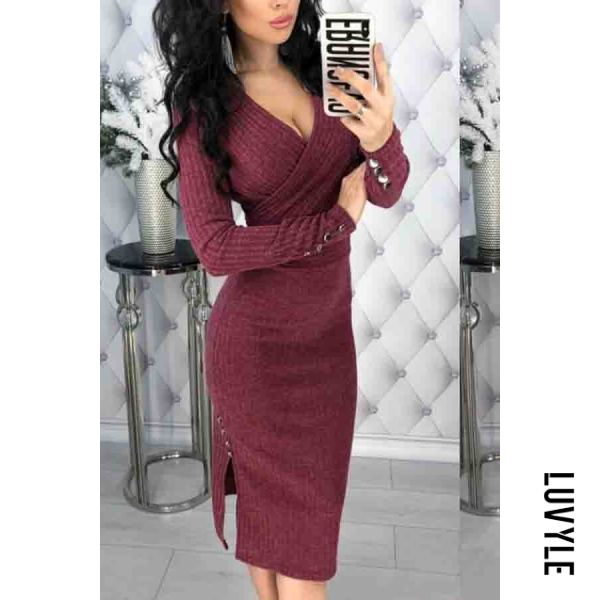 Claret V Neck Plain Long Sleeve Bodycon Dresses Claret V Neck Plain Long Sleeve Bodycon Dresses