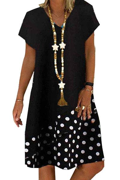 Spliced Polka Dot Loose Short-sleeved Dress