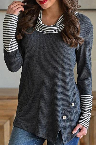 Heap Collar Striped Long Sleeve T-Shirt