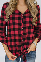 V Neck Tie Sleeve Plaid Blouse