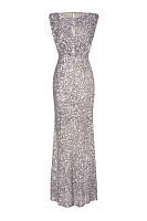 Sparkling Plain Sequin Round Neck Evening Dress