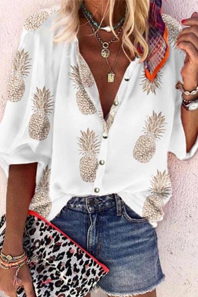 Casual Printed Long-Sleeve Blouses