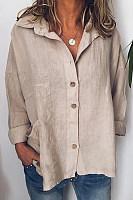 A Lapel Long Sleeve Plain Blouse