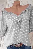 Women's V-Neck Polka Dot Loose Blouse
