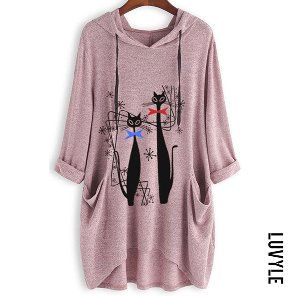 Pink Knitted Printed Long-sleeved Irregular Hoodie Pink Knitted Printed Long-sleeved Irregular Hoodie