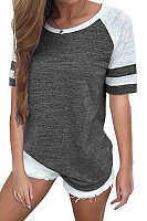 Round Neck  Patchwork T-Shirts