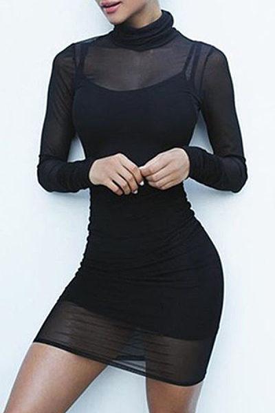 High Neck  See Through  Plain Bodycon Dresses