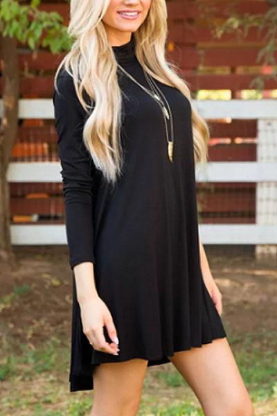 High Neck  Plain Casual Dresses