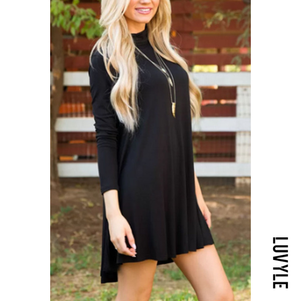 Black High Neck Plain Casual Dresses Black High Neck Plain Casual Dresses