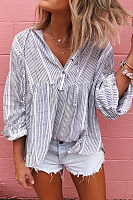 Department Of Leadership Striped Casual Blouses