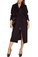 Fold Over Collar  Snap Front  Belt  Plain Outerwear