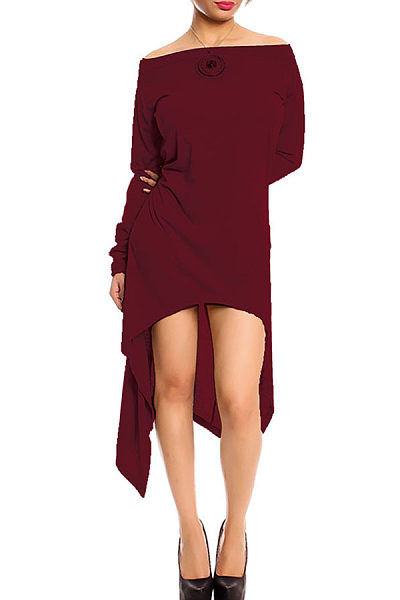 Open Shoulder  Asymmetric Hem  Plain Casual Dresses