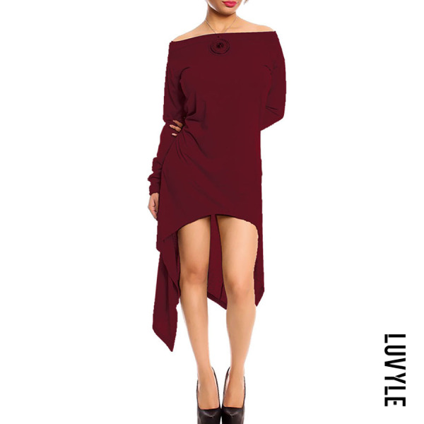 Claret Red Open Shoulder Asymmetric Hem Plain Casual Dresses Claret Red Open Shoulder Asymmetric Hem Plain Casual Dresses