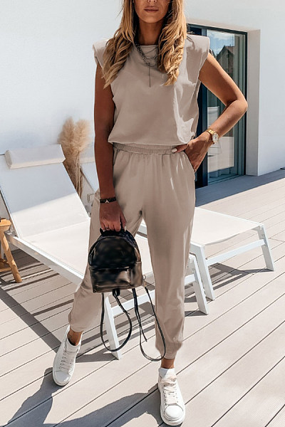 Solid Short Sleeve nude grey Two-piece Outfit loungewear