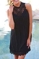Lacework Patchwork Sleeveless Short Dress