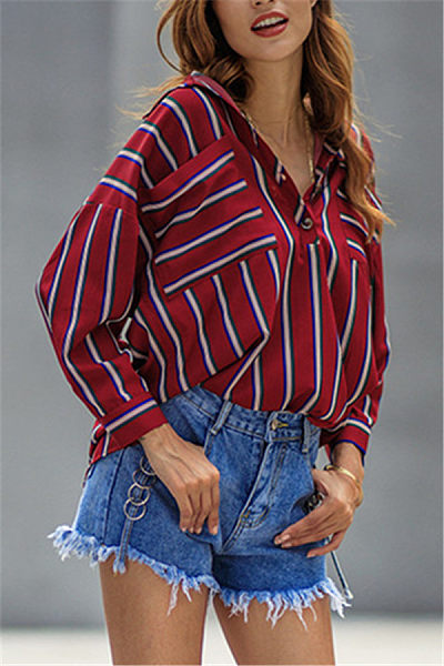 A Lapel Loose-Fitting Striped Blouse