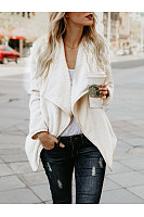 Lapel  Plain Fleece Cardigan