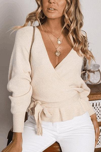 Deep V Neck  Backless  Belt  Plain Sweaters
