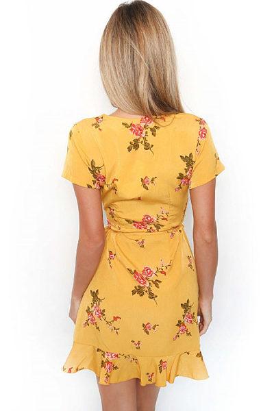 Surplice  Asymmetric Hem  Belt  Floral Printed  Short Sleeve Casual Dresses