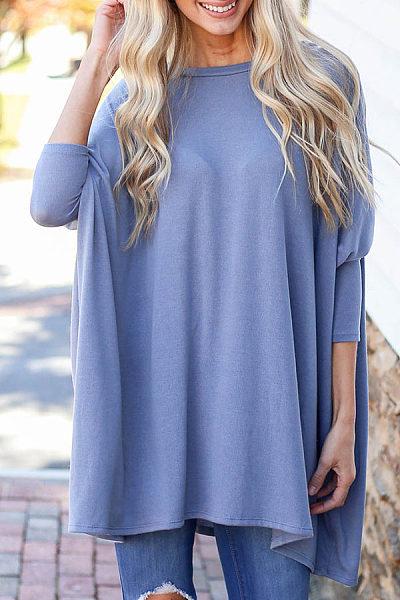 Round Neck Loose-Fitting Plain T-shirt