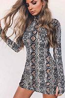 Band Collar  Animal Prints  Long Sleeve Bodycon Dresses