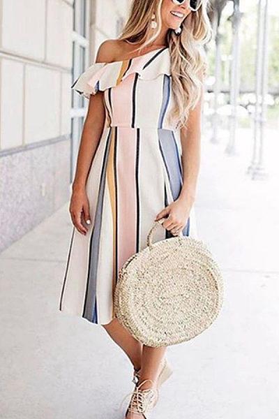 One Shoulder  Flounce  Color Block Striped  Short Sleeve Maxi Dresses