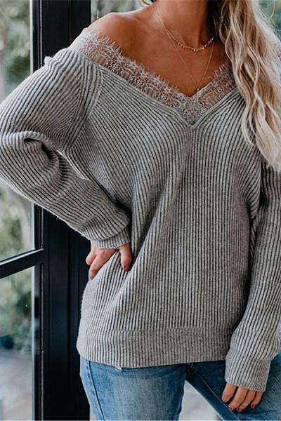 V Neck Long Sleeve Lace Up T-shirt