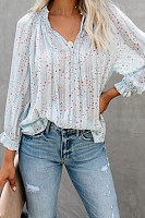 Classy Floral Pattern Long Sleeve Blouse
