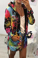 Casual Printed Colour Long Sleeve Loose Zip Hoodie