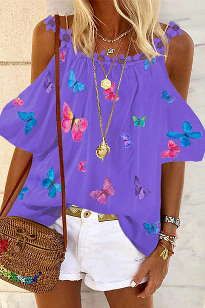 Casual Off-shoulder Printed Blouse