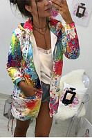 Casual Printed Colour Long Sleeve Loose Zip Hoodie