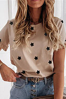 Star Print Simple Style Round Neck T-shirt
