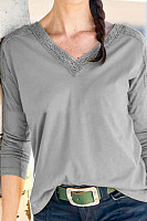 V Neck Plain Loose-Fitting T-Shirts