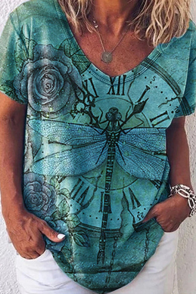 Dragonfly V Neck Loose T-shirt